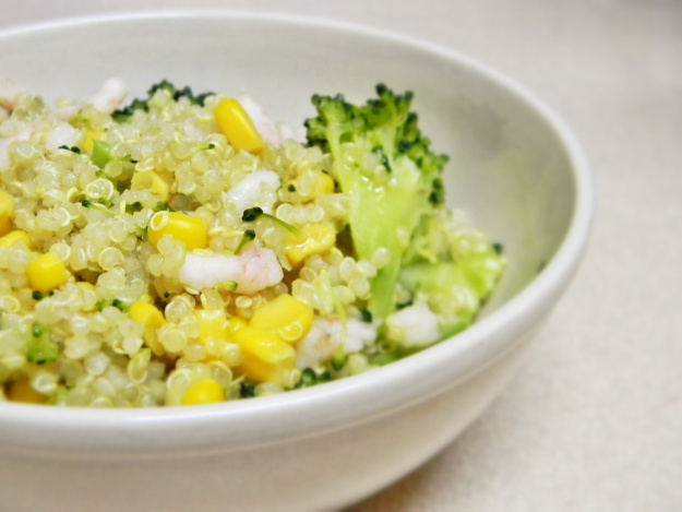 Broccolini, Corn, and Shrimp Quinoa with Olive Oil Lemon Garlic Dressing